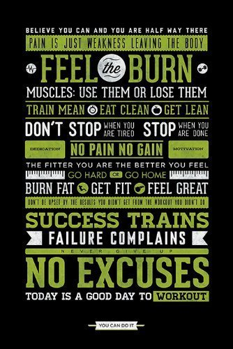 feel the burn motivational quotes gym posters