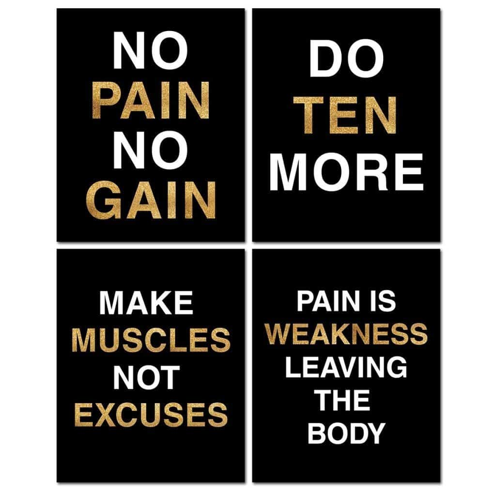 no pain no gain gym posters set