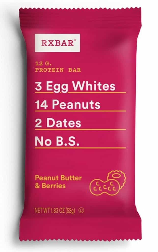peanut butter and berries rx bar